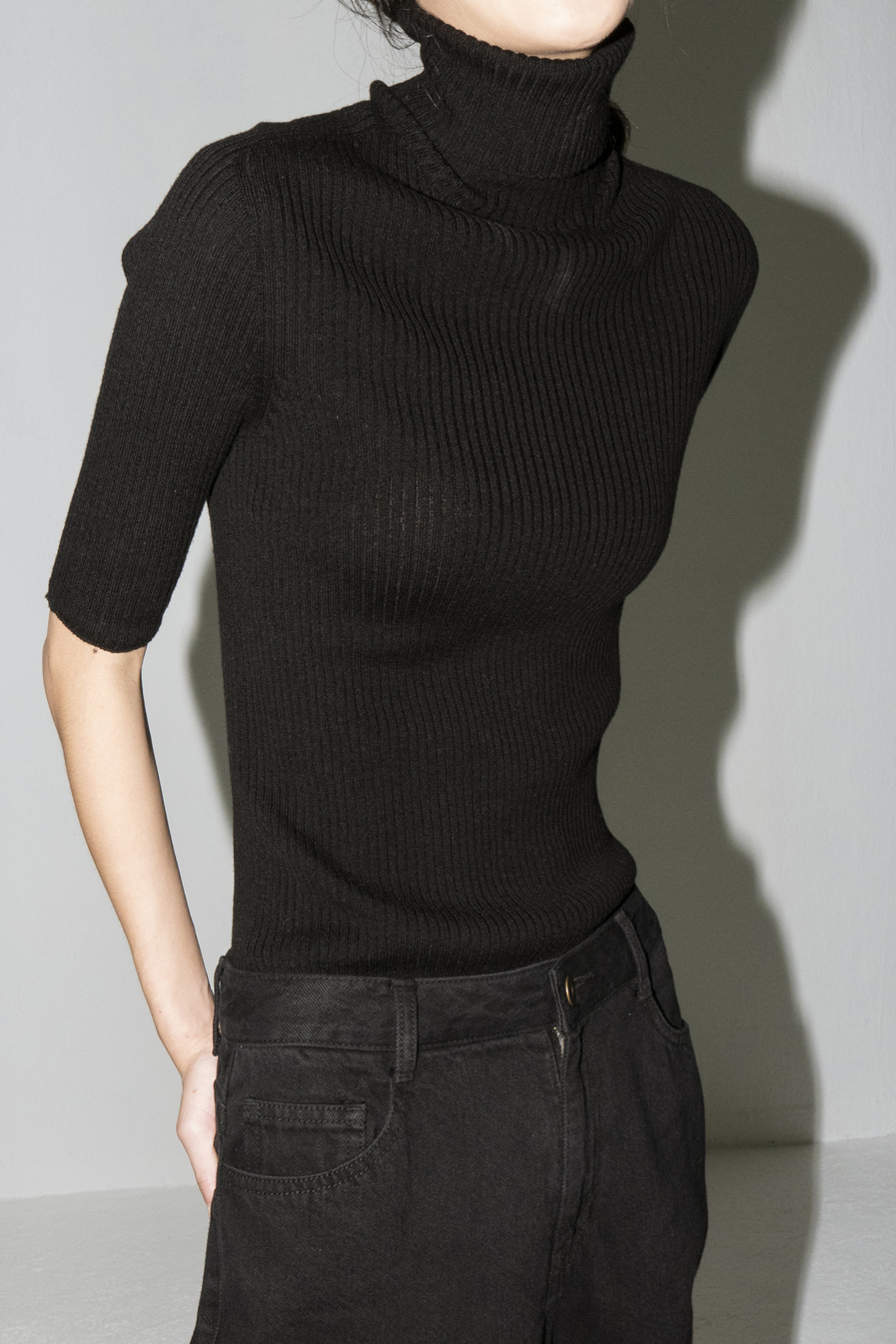 Ore Whole-garment ribbed turtle (#99 BLACK)