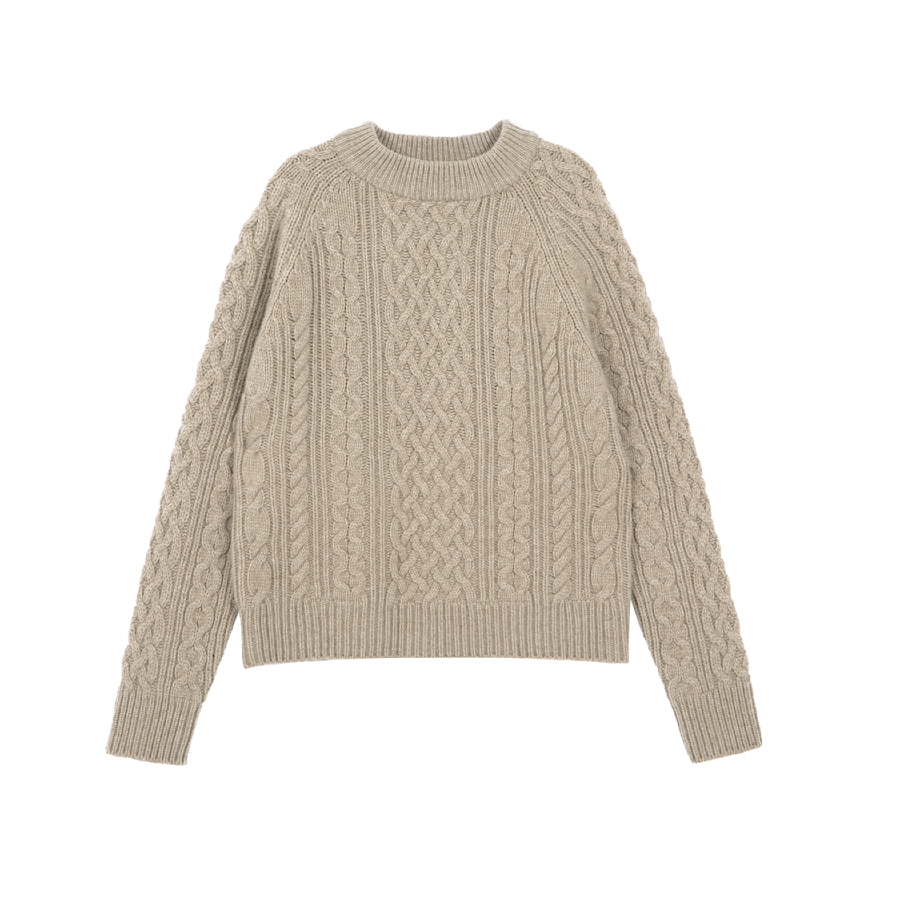 Cable knitted pull-over beige
