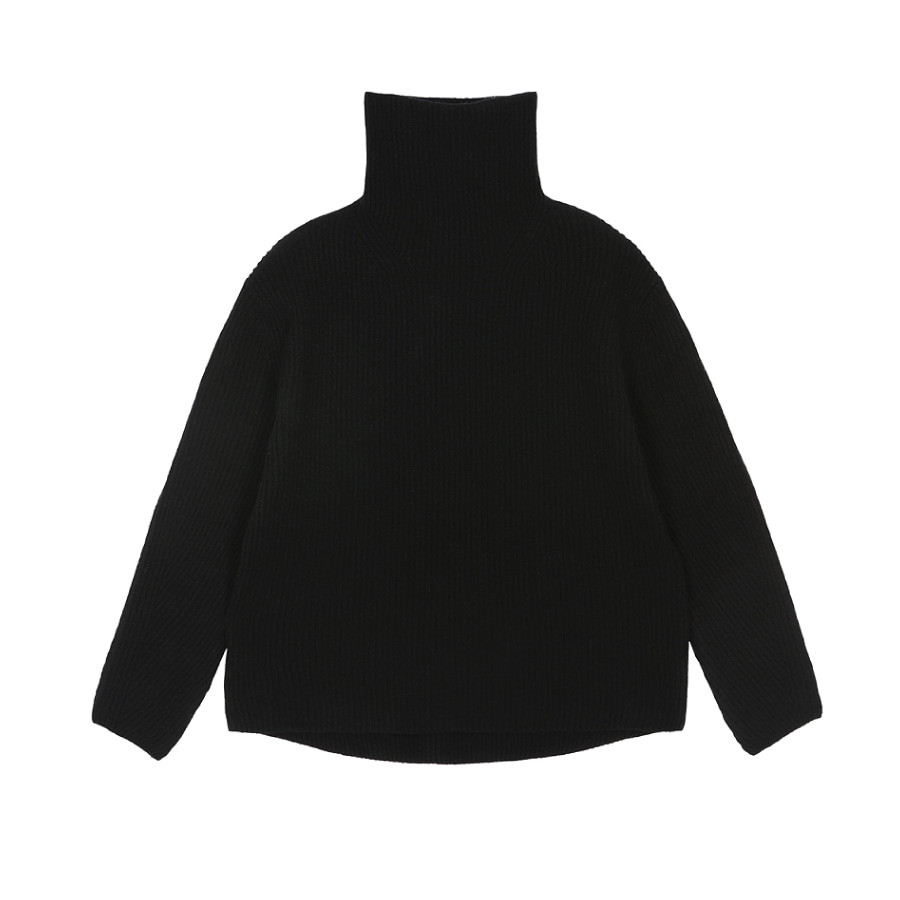 Cashwool turtle pullover black