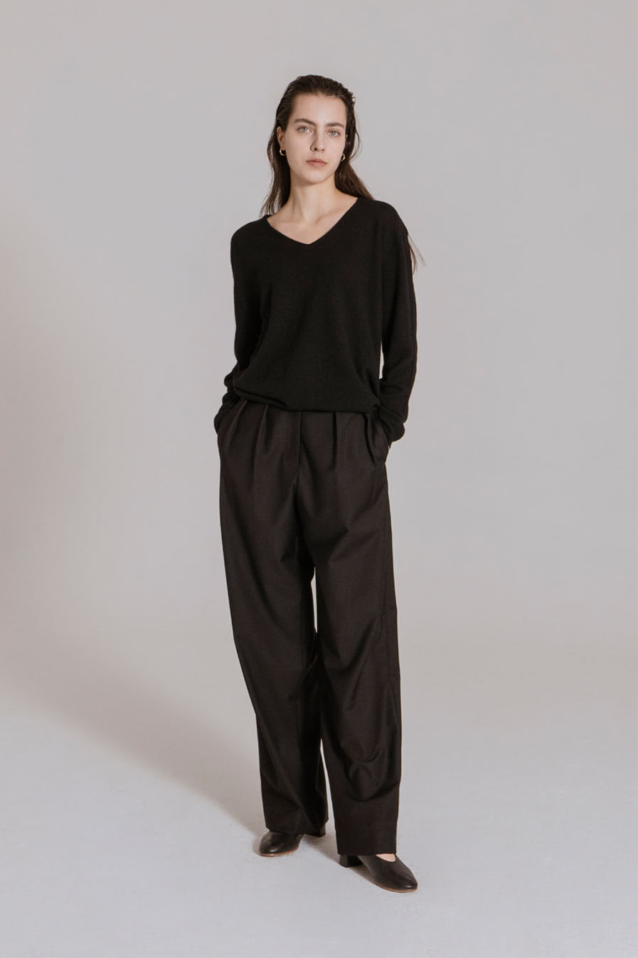 Wide leg pin-tuck PT Black